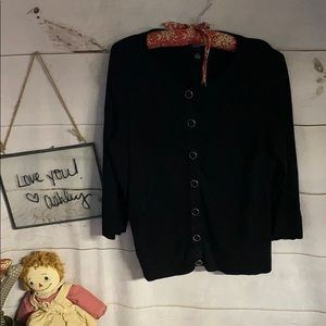 Alfani; Black; Sweater; Cardigan; Top; P/M